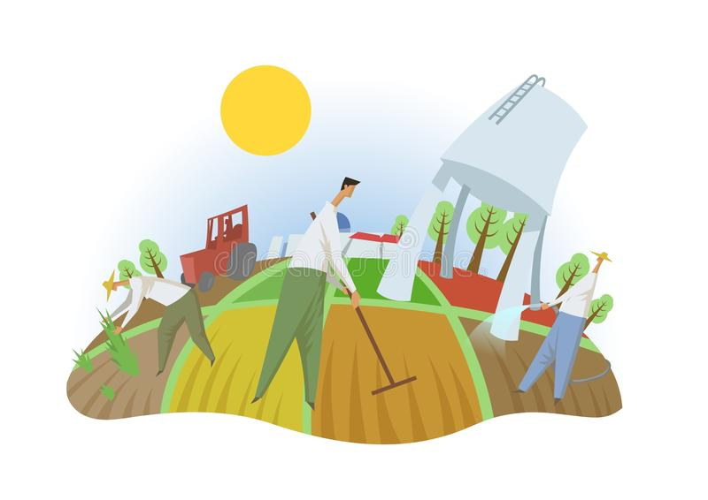 Mensen die op het gebied werken, fisheye mening De landbouw, eco-toerisme, kibboetsen Kleurrijke vlakke vectorillustratie geïsole vector illustratie
