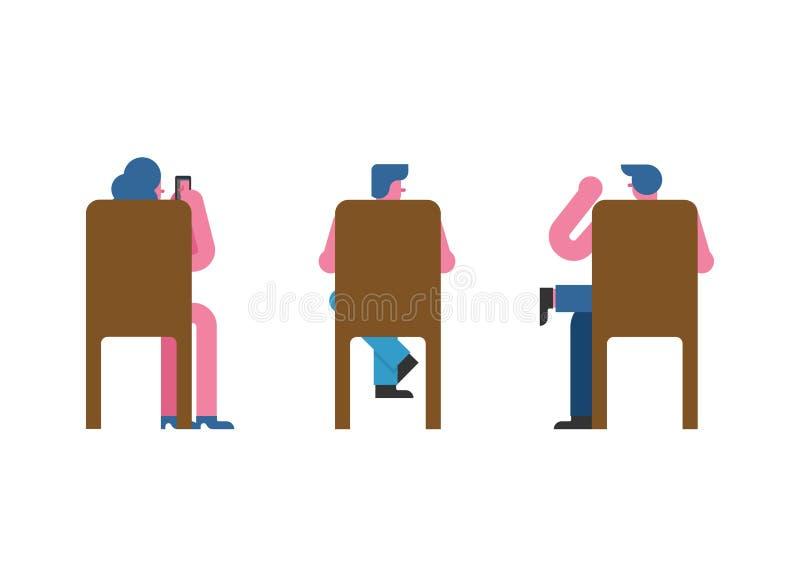 Mensen die op stoel achterreeks zitten Man en vrouwenvector illustrat stock illustratie