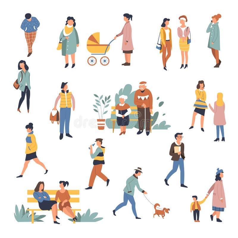 Mensen die in openlucht vrouw en de mens lopen die samen wandelen royalty-vrije illustratie