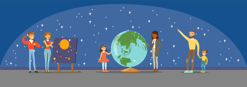 Mensen die over de sterren, planeten en het zonnestelsel bij het planetarium leren vector illustratie