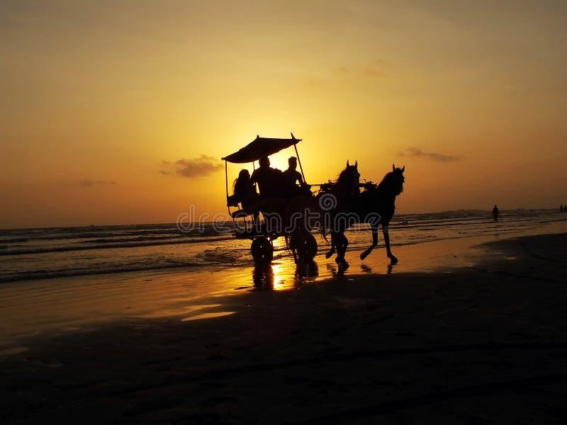 Mensen die in paardblokkenwagen zitten op overzees strand royalty-vrije stock foto