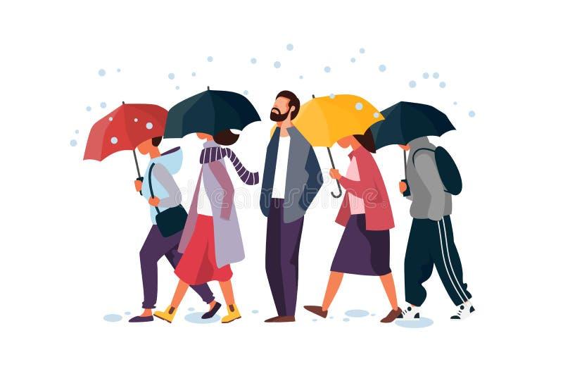 Mensen die paraplu houden, die onder de regen lopen Man en vrouwen de vectorillustratie van de herfstkarakters stock illustratie