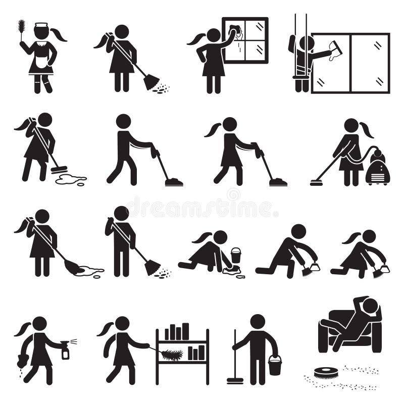 Mensen die pictogramreeks schoonmaken Vector vector illustratie