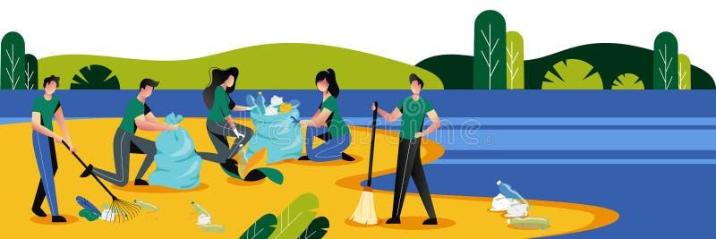 Mensen die plastic huisvuil op waterkant schoonmaken Het aanmelden zich, ecologie en milieuconcept Vector illustratie royalty-vrije illustratie