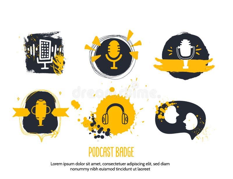 Mensen die Podcast-concept in grungestijl spreken Leef muziek Karaokepictogram Sprekerssymbool stock illustratie