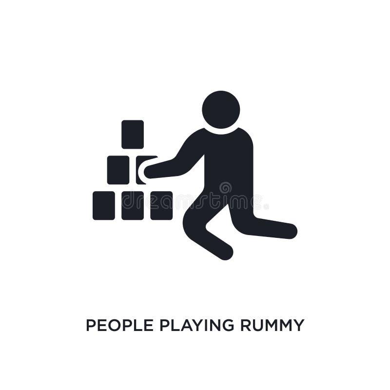 mensen die rummy geïsoleerd pictogram spelen eenvoudige elementenillustratie van de recreatieve pictogrammen van het spelenconcep royalty-vrije illustratie