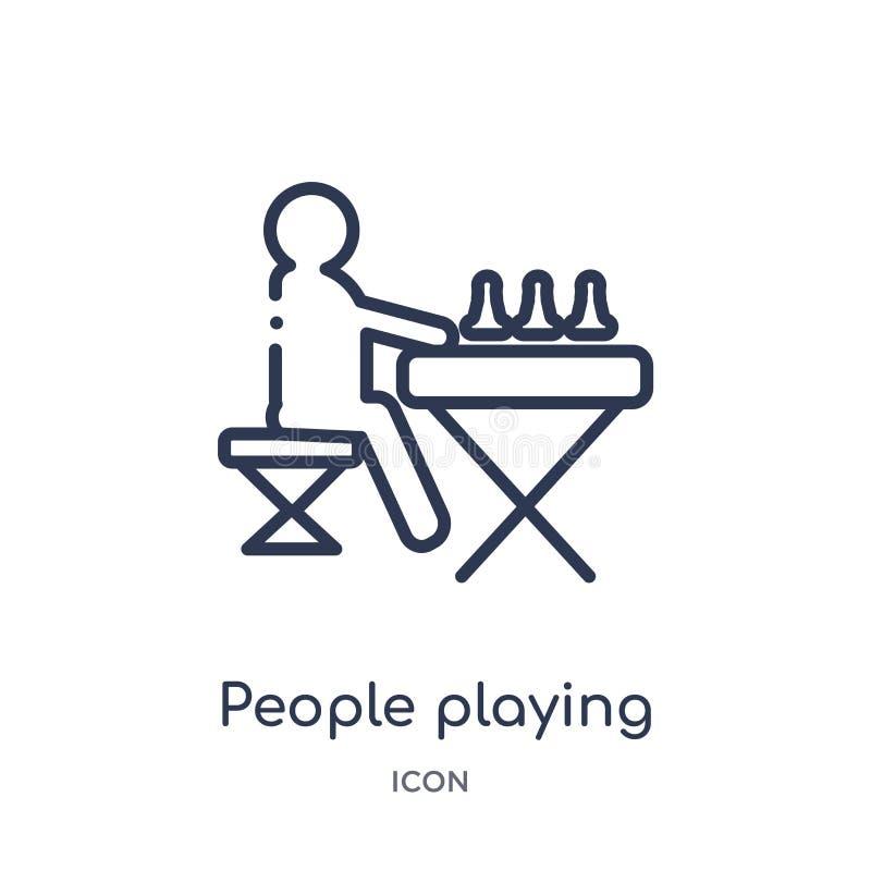 mensen die schaakpictogram van de recreatieve inzameling van het spelenoverzicht spelen Dunne lijnmensen die die schaakpictogram  royalty-vrije illustratie