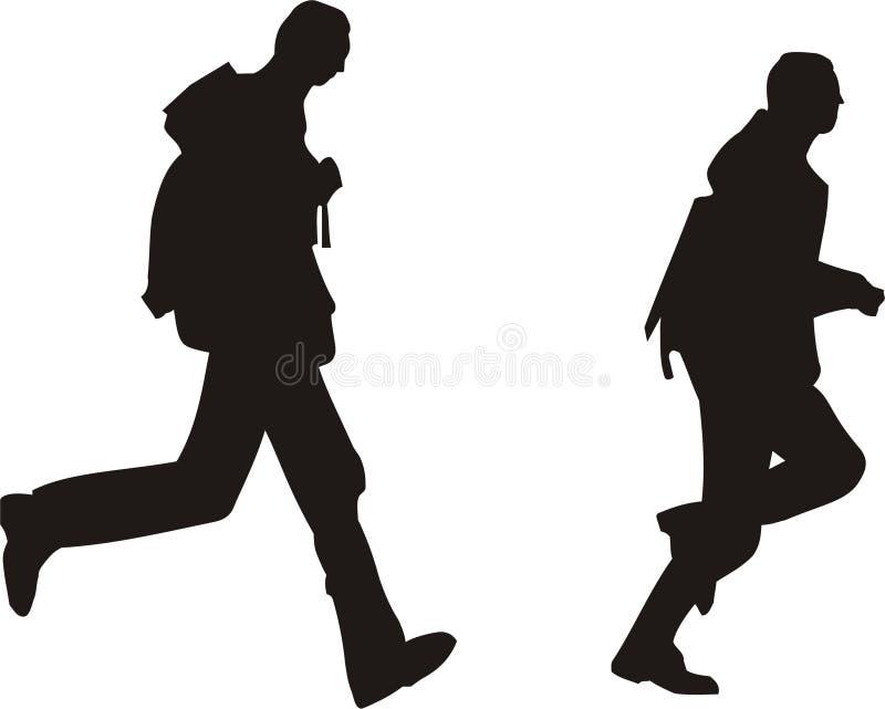 De Lopende Mensen Van Het Silhouet Vector Illustratie