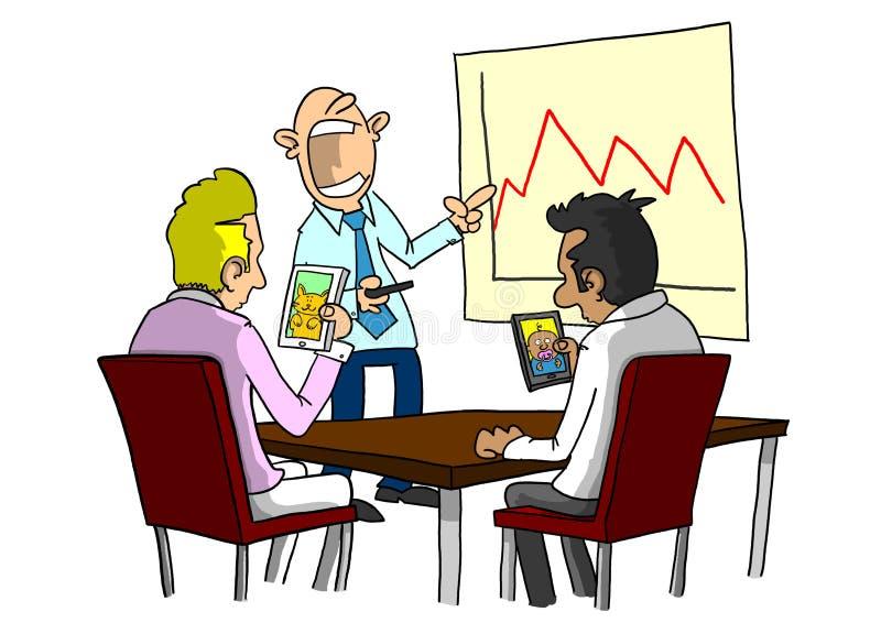 Mensen die slimme telefoons met behulp van bij het boring van vergadering royalty-vrije illustratie