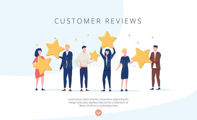 Mensen die sterren houden De klant herziet het conceptenillustratie van de conceptenillustratie, perfect voor Webontwerp, banner stock illustratie