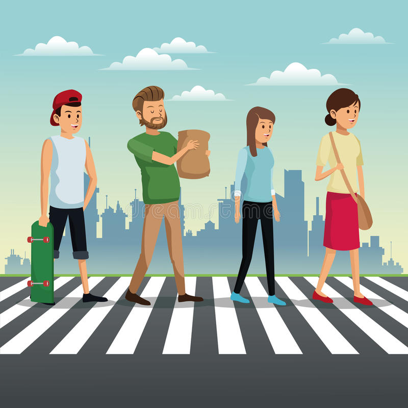 mensen die straat stedelijke achtergrond kruisen vector illustratie