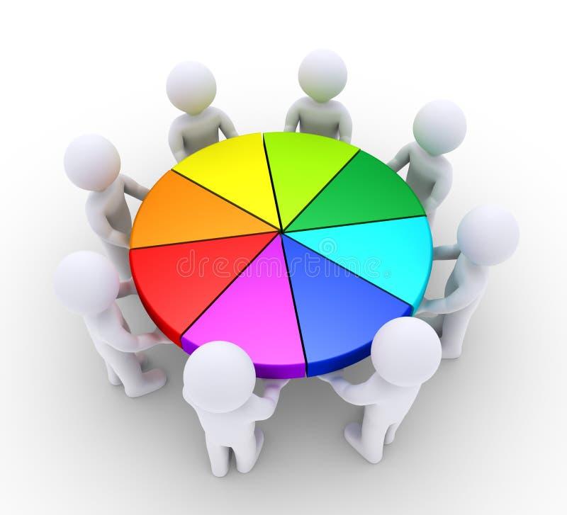 Mensen die stukken van cirkeldiagram houden stock illustratie
