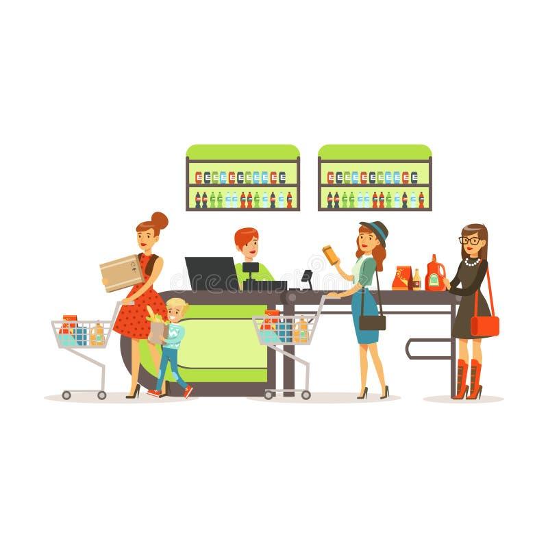 Mensen die in supermarkt, vrouwen winkelen die aankoop betalen bij de kleurrijke vectorillustratie van het kassiersbureau vector illustratie