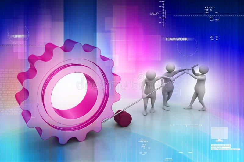 Mensen die toestel in unie bewegen, symbool van groepswerk vector illustratie