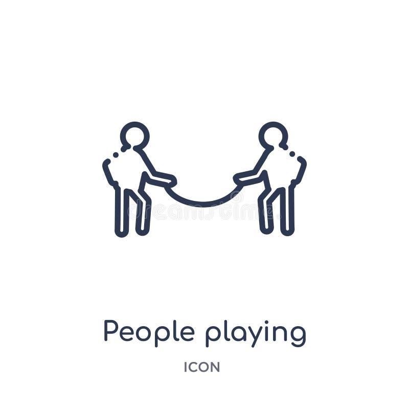 mensen die touwtrekwedstrijdpictogram van de recreatieve inzameling van het spelenoverzicht spelen Dunne lijnmensen die geïsoleer vector illustratie