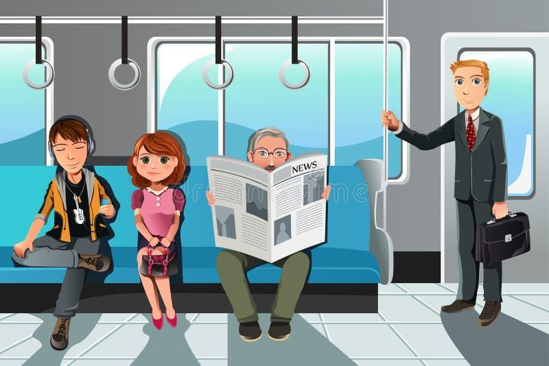Mensen die trein berijden vector illustratie