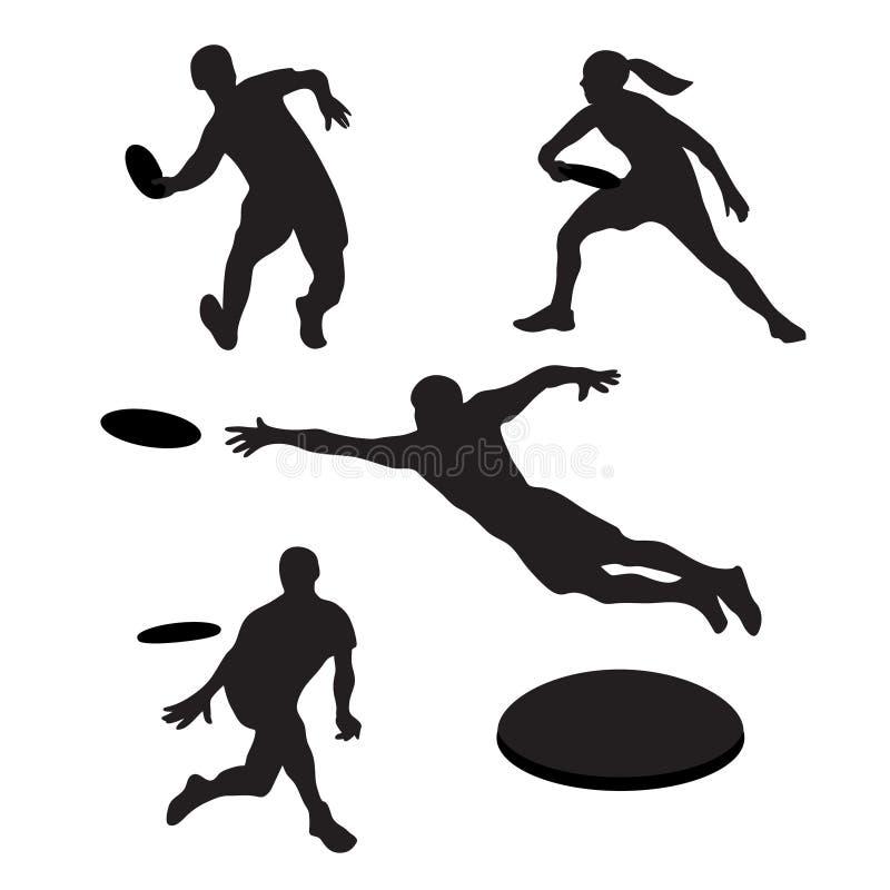 Mensen die uiteindelijke frisbee spelen 4 silhouetten royalty-vrije illustratie