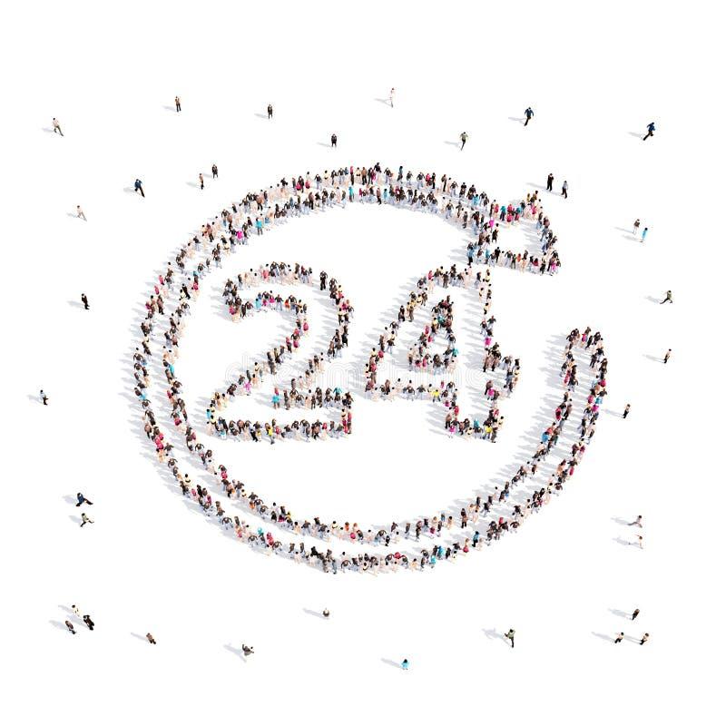 Mensen die 24 uur op 24 uur lopen in 3D Illustratie stock illustratie
