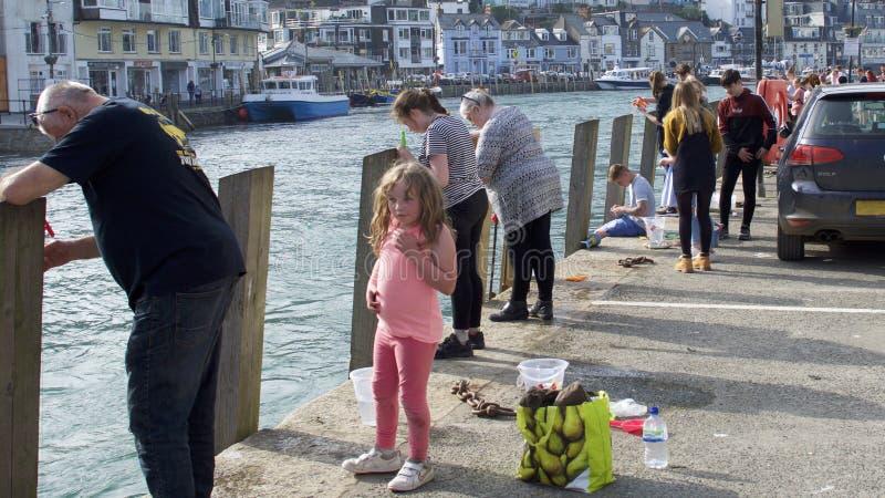 Mensen die van één of andere krab genieten die van het havenoosten Looe vissen, Cornwall, het UK stock foto's