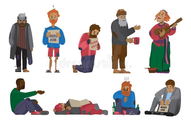 Mensen die van de de parasiet dwalen de vastgestelde werkloosheid van dakloze mensenkarakters hulpbedelaars en zwervers wensen ve royalty-vrije illustratie
