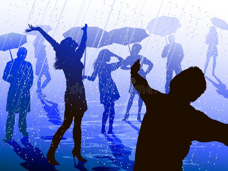 Mensen die van de regen genieten vector illustratie