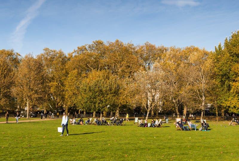 Mensen die van een zonnige de herfstdag in Londen genieten, die op het gras in Hyde-park zitten stock foto