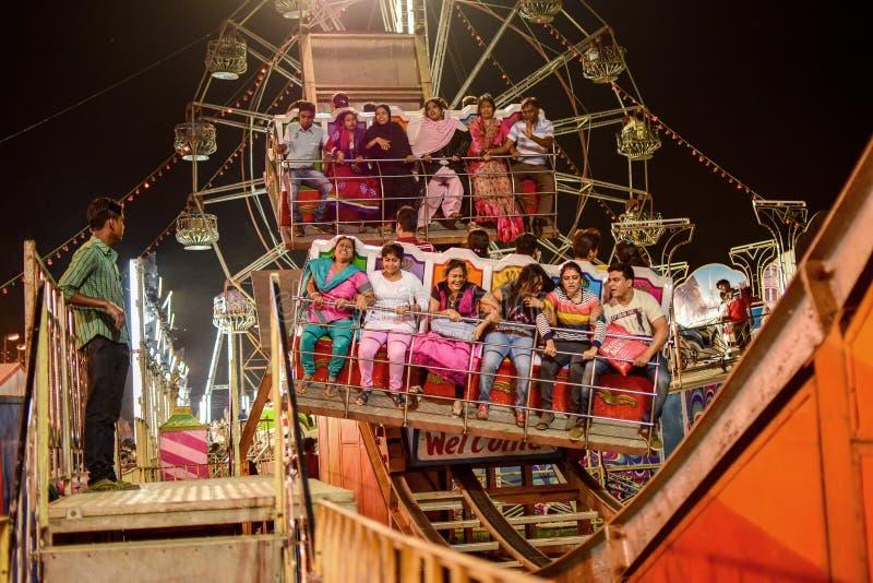 Mensen die van rit op Reuzenrad genieten bij nacht royalty-vrije stock foto
