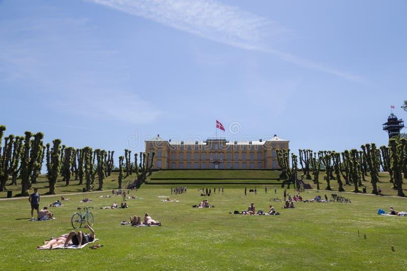 Mensen die van Zondag middag in Frederiksberg-park genieten stock afbeeldingen