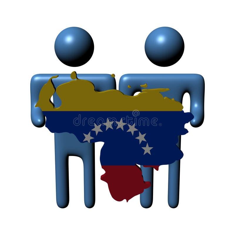 Mensen die Venezolaanse kaartvlag houden stock illustratie