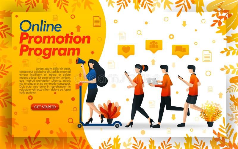 Mensen die verkoopdoelstellingen, vrouwen lopen te bereiken die een autoped berijden om een bevorderingsprogramma te maken een su stock illustratie