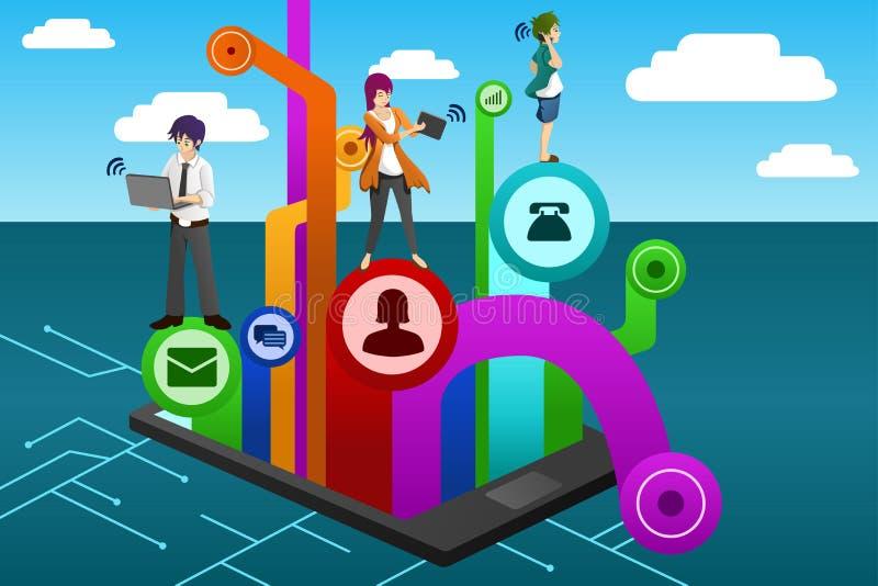 Mensen die verschillend mobiel apparaat met behulp van stock illustratie
