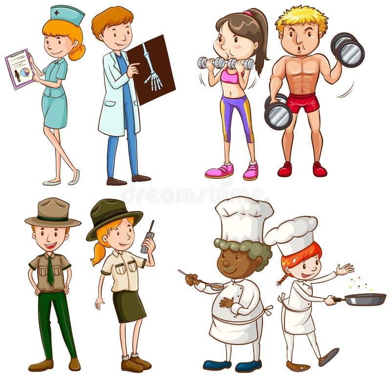Mensen die verschillend werk doen stock illustratie