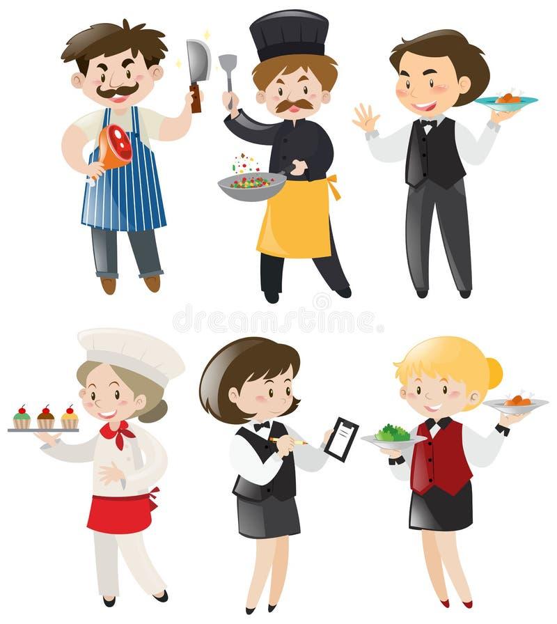 Mensen die verschillend werk in restaurant doen vector illustratie
