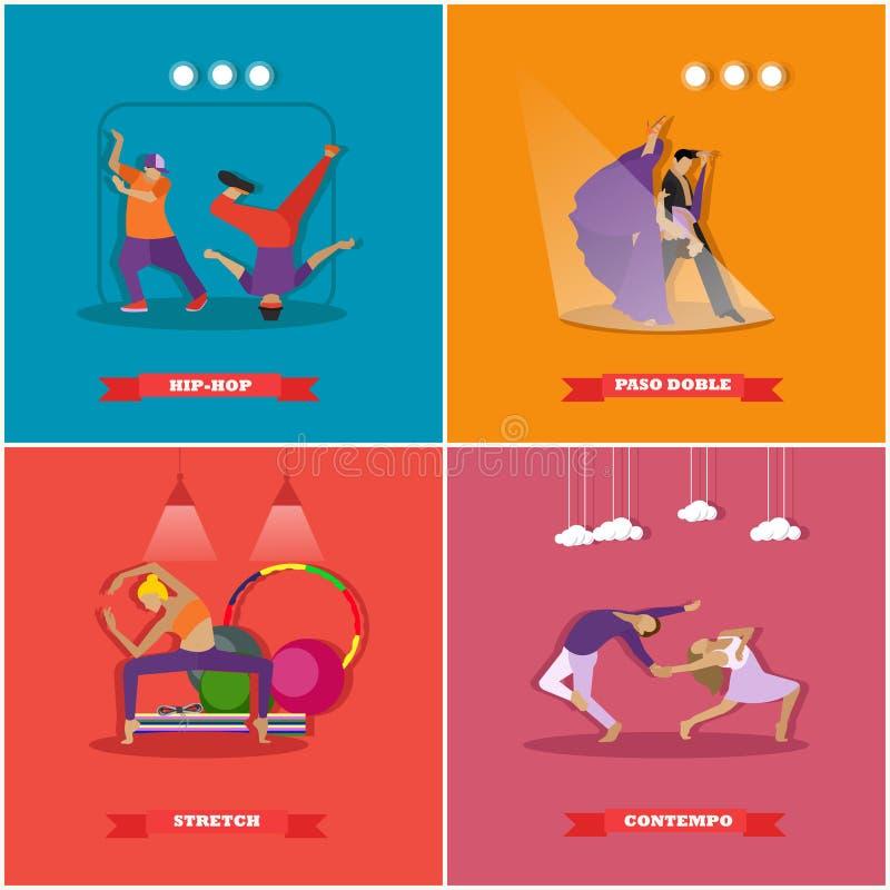 Mensen die in verschillende stijlen dansen Breakdance, paso doble, eigentijdse dans Vectorillustratie in vlak ontwerp stock illustratie