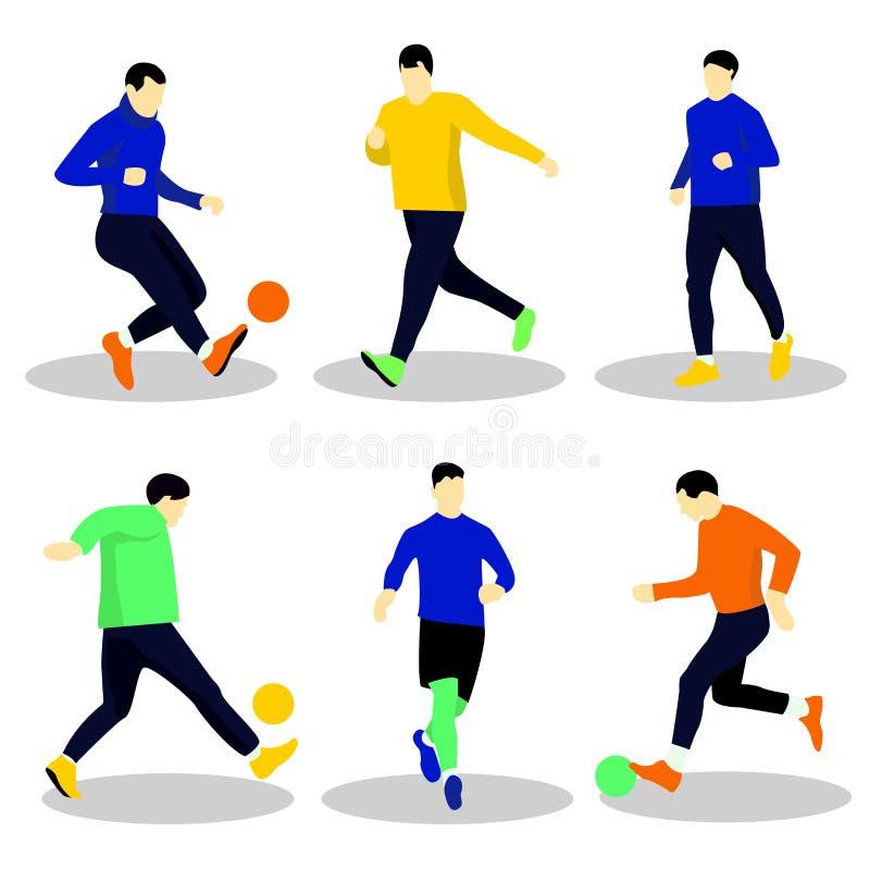 Mensen die voetbal met bal spelen stock illustratie