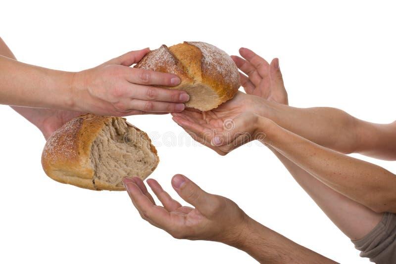Mensen die voor voedsel grijpen stock foto's