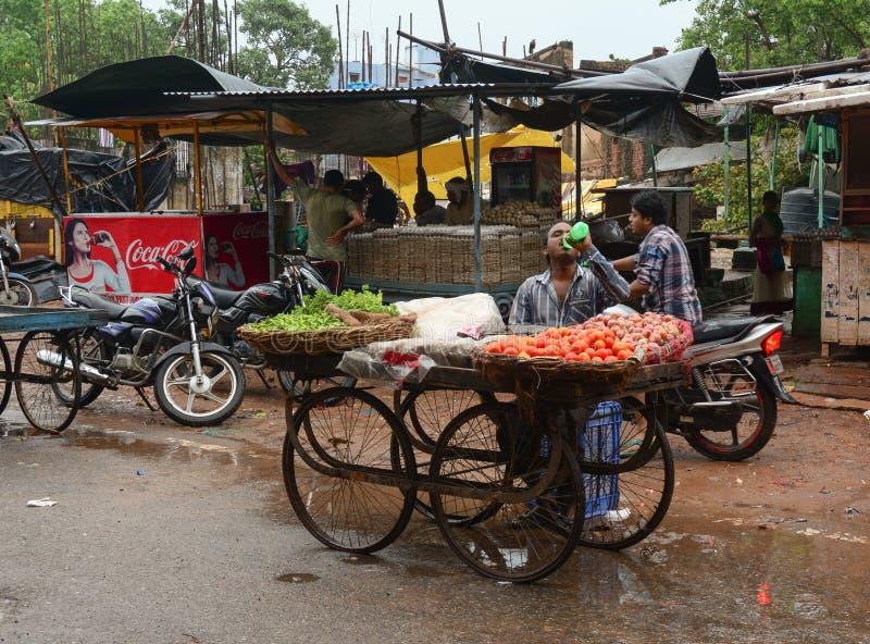 Mensen die vruchten op straat in Kolkata, India verkopen royalty-vrije stock afbeelding