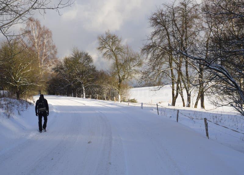 Mensen die in zwarte kleren met rugzak op sneeuw de lopen behandelden asfaltweg in de winterbos stock fotografie