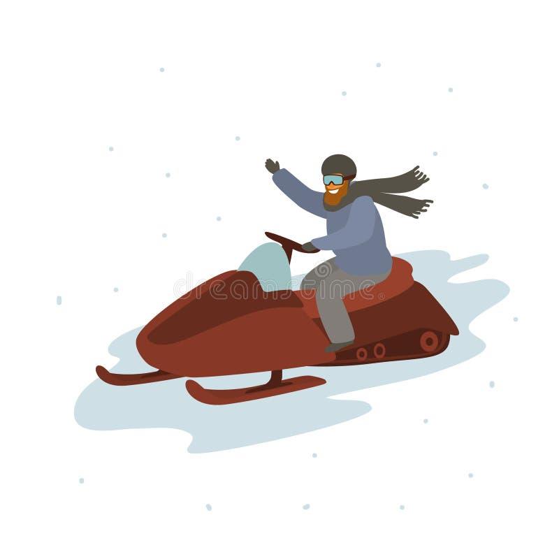 Mensen drijfsneeuwscooter, de vectorillustratie van het de winterbeeldverhaal royalty-vrije illustratie