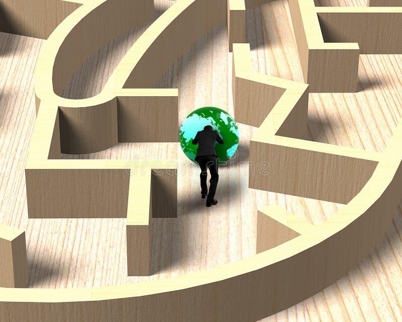 Mensen duwende bol in houten labyrintspel vector illustratie