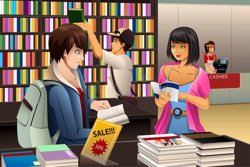 Mensen in een Boekhandel royalty-vrije illustratie