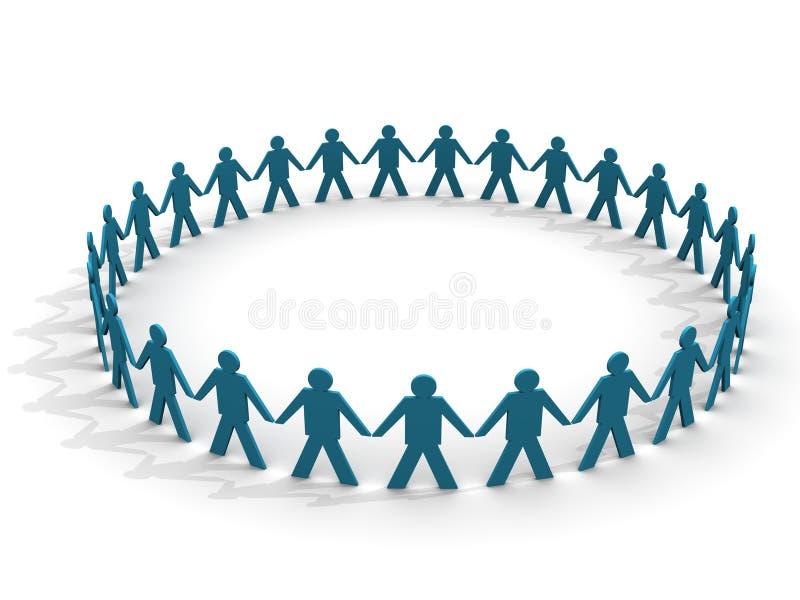 Mensen in een reusachtige cirkel royalty-vrije illustratie