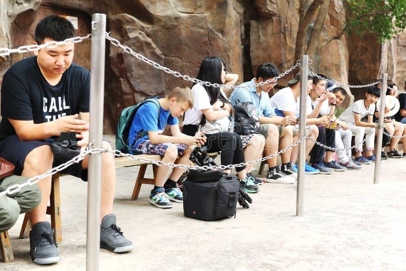 Mensen een rij om worden gevormd om aantrekkelijkheid in Gelukkige Vallei Peking te bezoeken dat royalty-vrije stock foto