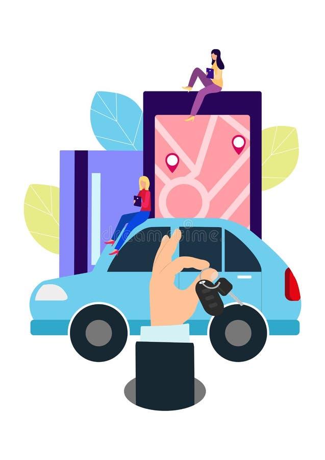 Mensen en auto Makend overeenkomsten online autohuur Vectorillustratie in vlakke stijl vector illustratie