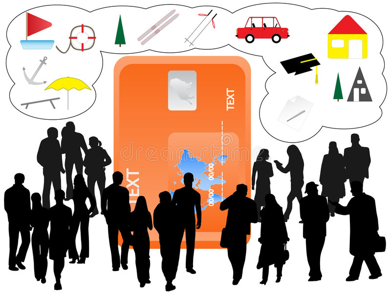 Mensen en bankwezenkaart stock illustratie