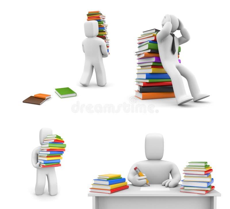 Mensen en boeken in verschillende situaties vector illustratie