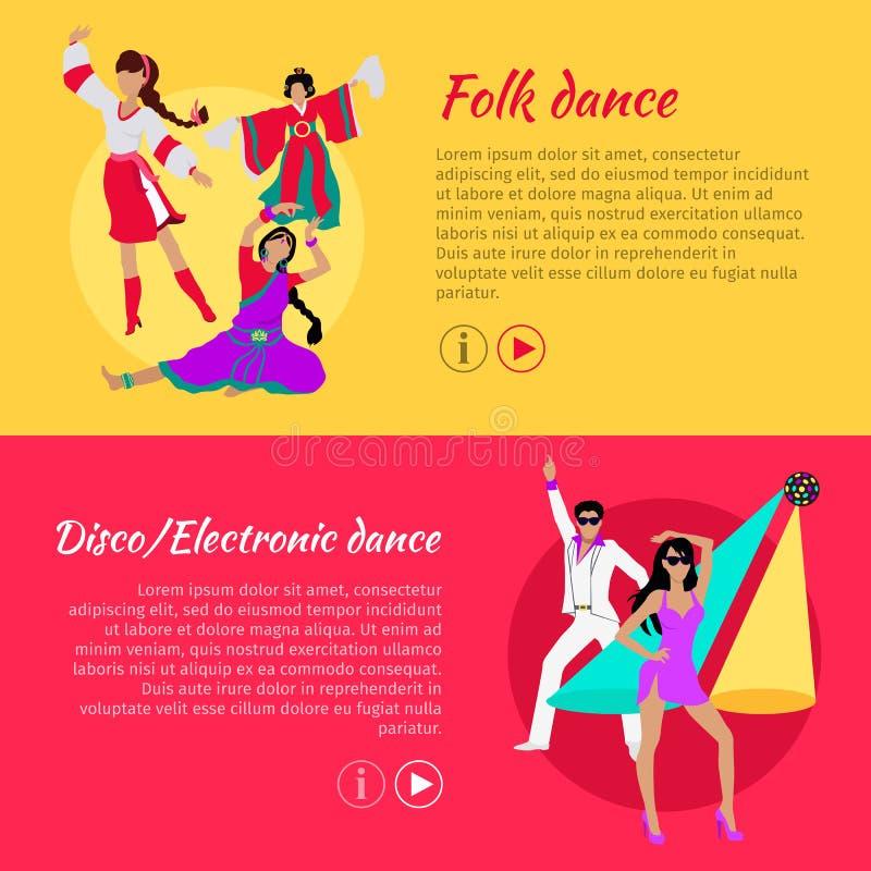 Mensen en Disco of de Elektronische Banner van het Dansweb stock illustratie