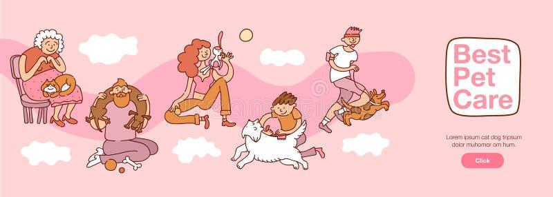 Mensen en Huisdiereninteractieillustratie vector illustratie