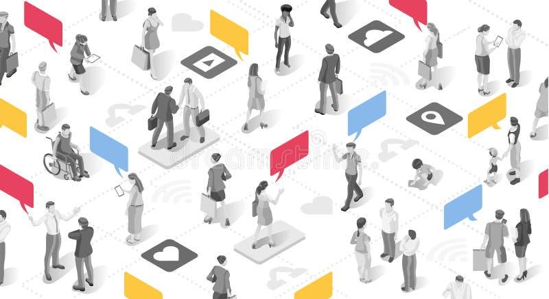 Mensen en Praatje van de Publicitaire mededeling het Vectorbel stock illustratie