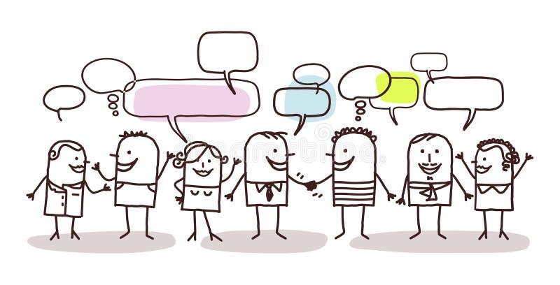 Mensen en sociaal netwerk royalty-vrije illustratie